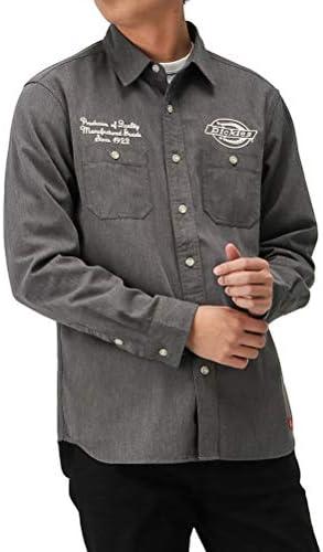 ワークシャツ 長袖 シャツ カジュアルシャツ メンズ 刺繍ワークシャツ ブランドロゴ ストライプ 無地 0170-4400