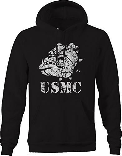 Usmc Bulldog Sweatshirt - Falcoln Apparel Distressed - USMC Bulldog Military One Shot One Kill Sweatshirt - 4XL