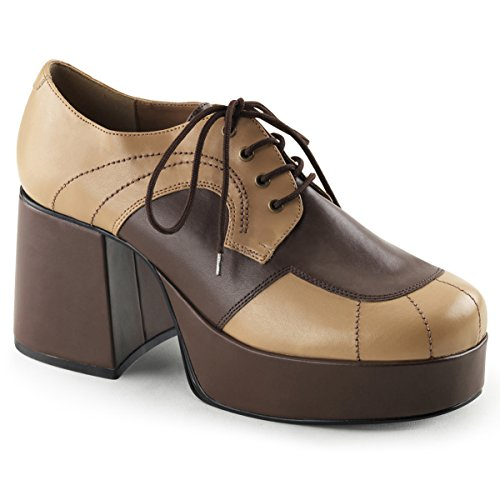 Summitfashions Mens Brown and Tan Retro Shoes with 3.5 Inch Heels and 1.5 Inch Platform Size: Medium