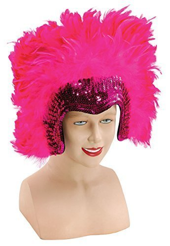 (Ladies 1920s Flapper Showgirl Drag Queen Vegas Cabaret Sequinned Large Feather Headdress Fancy Dress Costume Outfit Accessory (Pink))