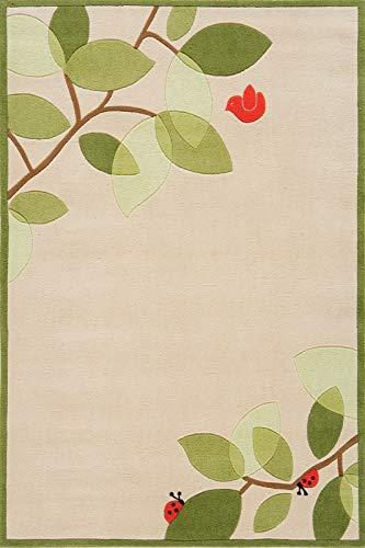 - Botanical Ladybug and Bird Hand-Tufted Acrylic Rug - Lil Mo Whimsy LMJ-6 (4.0 ft. x 6.0 ft. Rectangle)