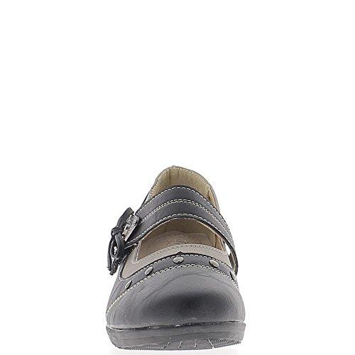 Chaussures femme noires confort talon compensé de 4cm liseré bronze