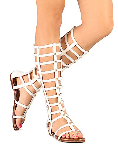 Wild Rose Odelia04 Womens Leatherette Open Toe Studded Knee High Gladiator Sandals,White,9