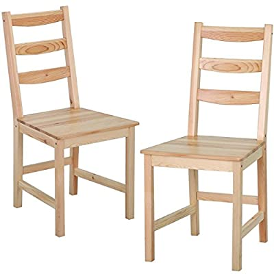 Yaheetech Set of 2 Solid Wood Ladder Back Chair Kitchen Dining Room Furniture