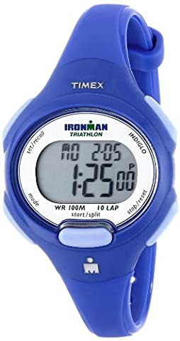Timex Women's T5K784 Ironman Essential 10 Mid-Size Orient Blue Resin Strap Watch - Chrono Classic Ladies Watch
