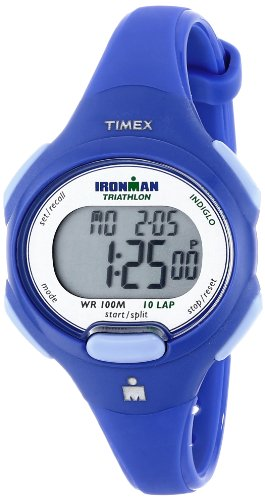 Timex Women's T5K784 Ironman Essential 10 Mid-Size Orient Blue Resin Strap Watch