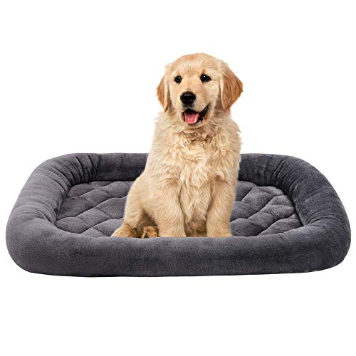 EMME Padded Pet Bed Luxury Flannel All Season Crate Mat for Dog & Cat Plush Pet Bed Pet Mat (Grey, XX-Large)