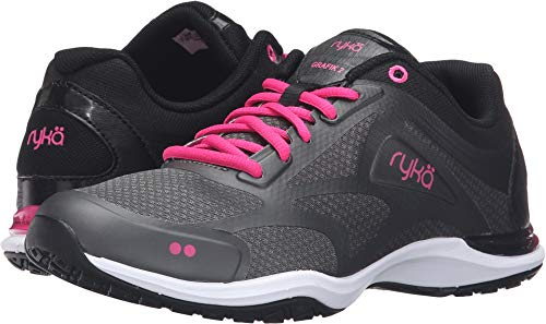 Ryka Women's Grafik 2 Cross-Trainer Shoe, Black/Grey/Pink, 7.5 M US