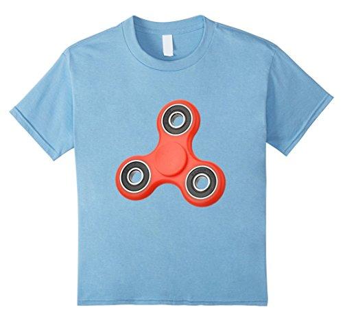 Kids Spin Star Fidget Spinner T-Shirt Gift for Kids 6 Baby Blue