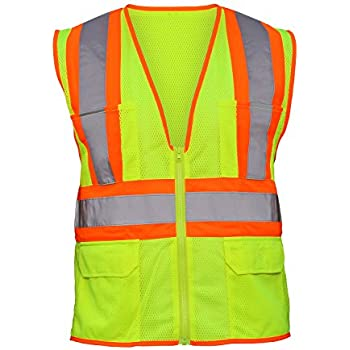 6f568eee1398 SAS Safety 690-2110 Hi-Viz Class-2 Flame Retardant Safety Vest with 2-Tone  Reflective Tape