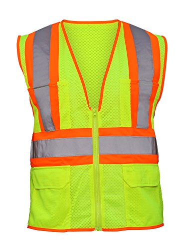 SAS Safety 690-2110 Hi-Viz Class-2 Flame Retardant Safety Vest with 2-Tone Reflective Tape, X-Large, Yellow by SAS Safety