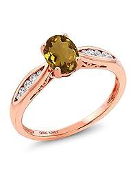10K Rose Gold 0.77 Ct Oval Whiskey Quartz and Diamond Engagement Ring