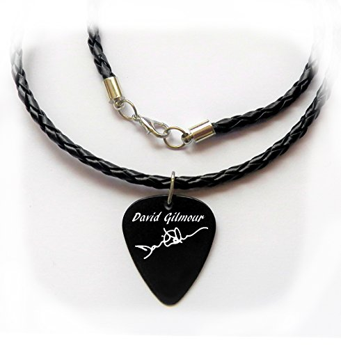 David Gilmour Pink Floyd plectrum guitar pick braided LEATHER NECKLACE 20