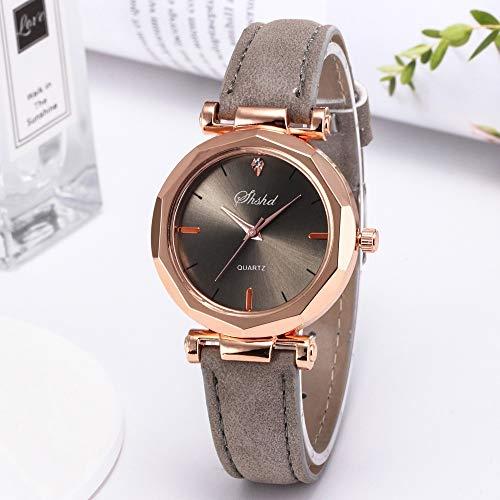 Women Watches Leather Women Watch Ladies Leather Strap Watch Elegant Quartz Wristwatch MineMine (Gray)
