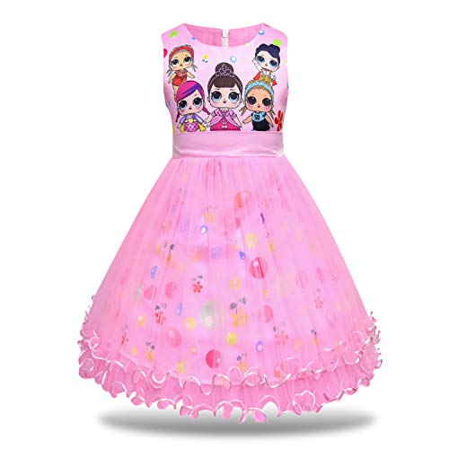 MagJazzy Girls Tutu Princess Dress Doll Digital Print Sleeveless Pageant Gown Dress for Doll Surprised (150cm/ 7-8Y, Pink)