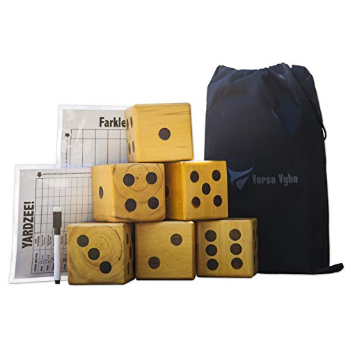 Giant Wooden Yard Dice with Scoreboard - Includes 6 Giant Varnished dice, 2 scorecards, dryerase Marker & Canvas Carrying Bag for Outdoor Games, barbecues, Tailgating, Party Events and Yard Games