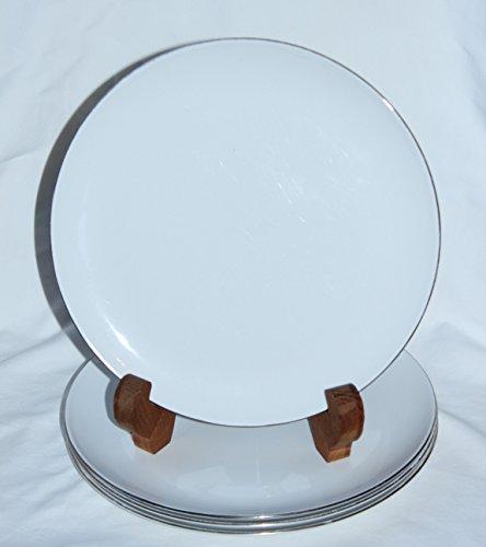 Coupe Centura White - Corning Centura White Platinum Edge Coupe 10 Inch Dinner Plates - Set of 4