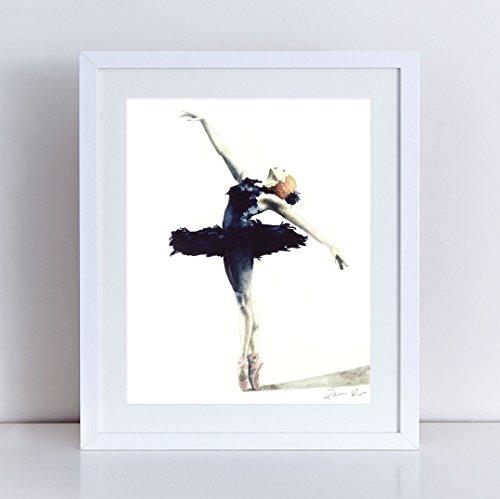 Belle Epoque Costumes (Black Swan Art Swan Lake Ballerina Painting Ballet Wall Art Dance Studio Art Dancer Painting Ballet Dancer Art Ballet Watercolor Art Black Swan Costume Canvas Art Print)