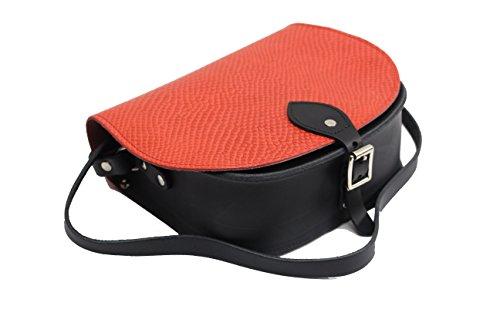 Orange und Schwarz Schlange gemustert Echtes Leder Sattel Crossbody Handtasche mit Schnalle und verstellbaren Trageriemen