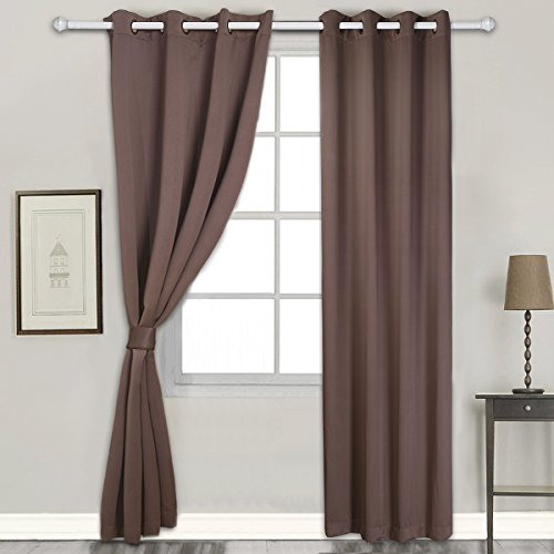 Vaulia Thermal Insulated Blackout Curtain with Tieback, Single Panel - 52 x 84 Inches, (Medium Single Panel)