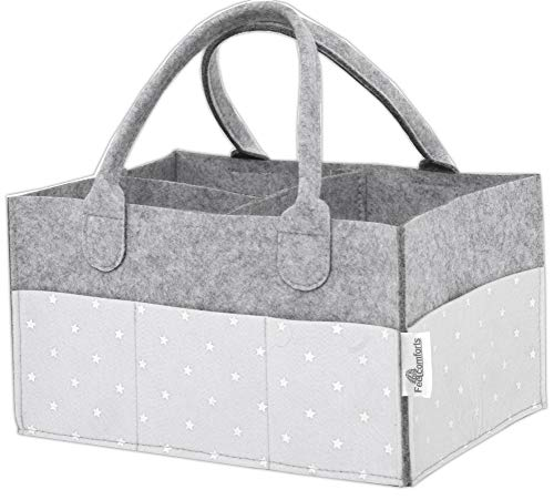 Baby Diaper Caddy Organizer – Stars, Excellent for All Diaper Sizes, Wipes, Nursery Storage Bins, Baby Travel, Changing Tables and Toys - Exclusive Baby Shower Gift