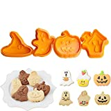 2 Pack Bakeware 4pcs Halloween Theme Plunger Biscuit Mold Cutter Plastic Cookie Cutter Biscuit Stamp Mould Fondant Tool Pastry Tools