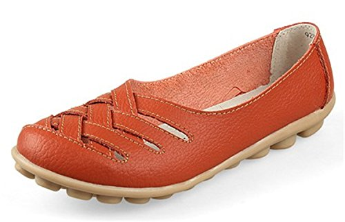 Gladiator Fashion UNIOPLIIL Flats Summer Split Cow Leather Working Shoes Muscle Out ShoeFemale Nurses Orange Hollow anFAnSwP