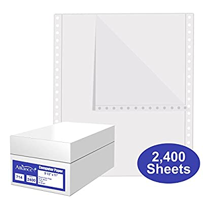 Alliance Continuous Computer Paper, 9.5 x 11, Blank Clean Perforated Edge 1-Part, 92 Bright, 20 lb