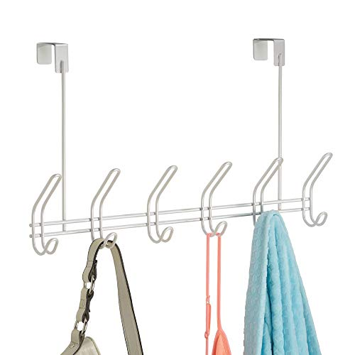 (InterDesign Classico Metal Over the Door Organizer, 6-Hook Rack for Coats, Hats, Robes, Towels, Jackets, Purses, Bedroom, Closet, and Bathroom, 18.25