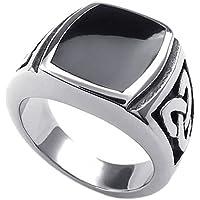 KONOV Mens Stainless Steel Ring, Celtic Knot Signet, Black