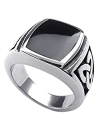Konov Jewelry Mens Stainless Steel Ring, Celtic Knot Signet, Black Silver, with Gift Bag, C22886