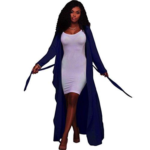 Negro largo Abierto Floaty Kimono de Mujer Cárdigan Manga Koly XXL maxi Chaqueta frente larga Señoras Azul Gasa Plumero aqnH8p5U