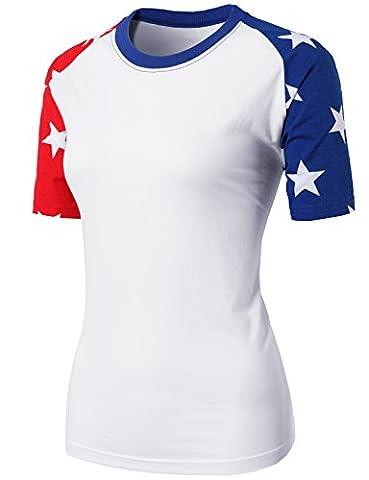 H2H Womens Comfy Round Neck Short Raglan Sleeve American Flag Top Tee REDBLUE US S/Asia S - Short Raglan Sleeve