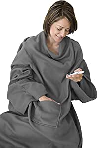 "Napa Soft Fleece Blanket with Sleeves And Pockets Grey, Super Cozy Microplush Fleece Wearable Throw for Women and Men Adult Comfy Throw Robe, 53"" x 71"""