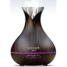 Villain SPA - Ultrasonic Aroma Essential Oil Diffuser - 400ml Wood Grain Cool Mist Humidifier with 7 Color Changing LED Lights, Mist Control, Auto OFF - 8 -12 Hrs Mist
