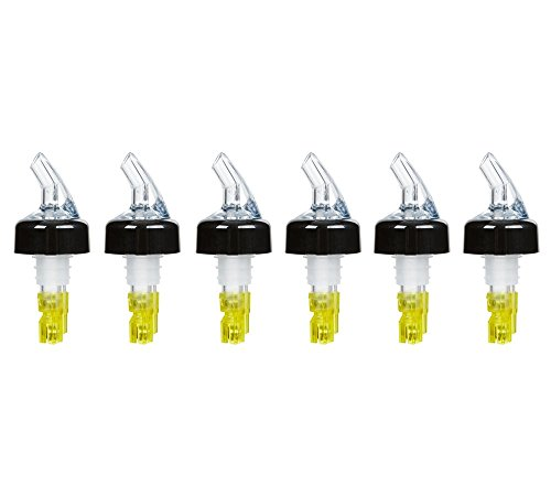 (Pack of 6) Measured Liquor Bottle Pourers, 1.5 oz, Clear Spout Bottle Pourer with Yellow Tail and Black Collar, Measured Pour Spouts by Tezzorio