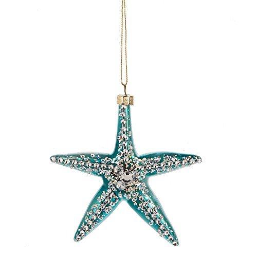 Aqua Blue Gem Sea Starfish 4 x 4 Inch Blown Glass Christmas Ornament (Christmas Glass Starfish Ornament)