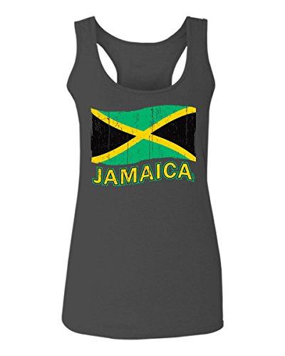 Jamaica Tee Jamaican National Country Flag Tee Carribean Women's Tank Top Sleeveless Racerback (Characol, X-Large) Charcoal