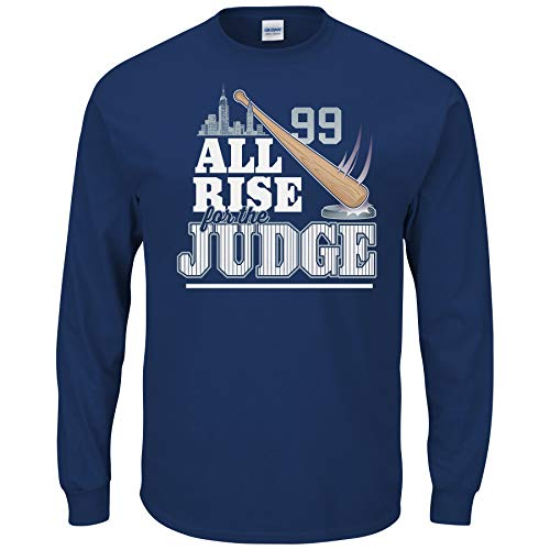New York Baseball Fans. All Rise for The Judge Navy T-Shirt (Sm-5X) (Long Sleeve, Large)