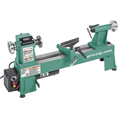 "Grizzly Industrial T25926-10"" x 18"" Variable-Speed Benchtop Wood Lathe"