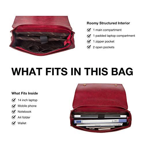 ECOSUSI Briefcase for Women Laptop Bag for School Briefcase Crossbody Messenger Bags Vegan Leather Satchel Purse Fit 14…