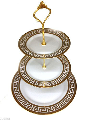 World Gifts White Porcelain Round 3-tier 24K Gold-plated Cake Stand, (Versace China Plates)
