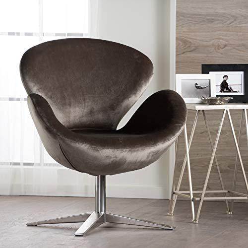 Manhatten New Velvet Modern Swivel Chair (Grey) from GDF Studio
