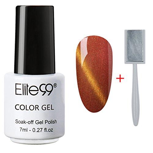 (Elite99 Soak Off 3D Magnetic Cat Eye Gel Polish UV LED Nail Art 9914 Orange Red with Gold Eye Free Magnet)