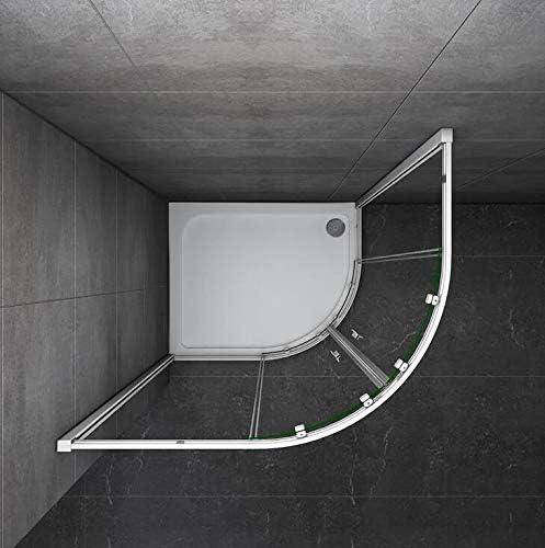Mampara Semicircular Cabina de Ducha Puerta Corredera Gris Mate ...
