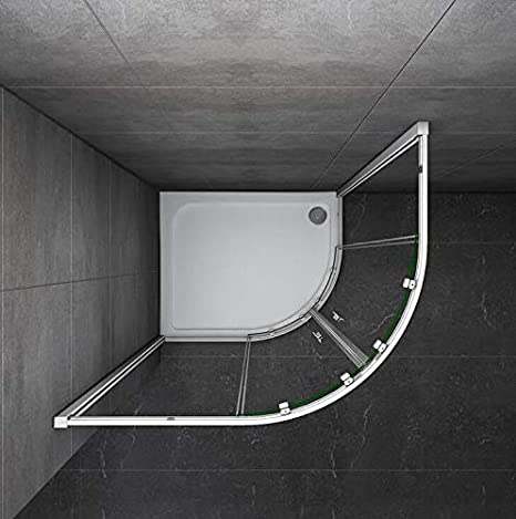 Mamparas de ducha Semicircular Puerta Corredera Gris Mate 5mm 90x76x185cm