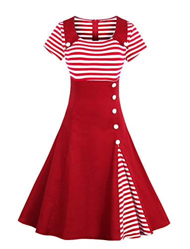 Caissen Women's Vintage Retro 1950s Short Sleeve Stripes Buttons Pin Up Party Sailor Dress Red Size XL for $<!--$19.99-->