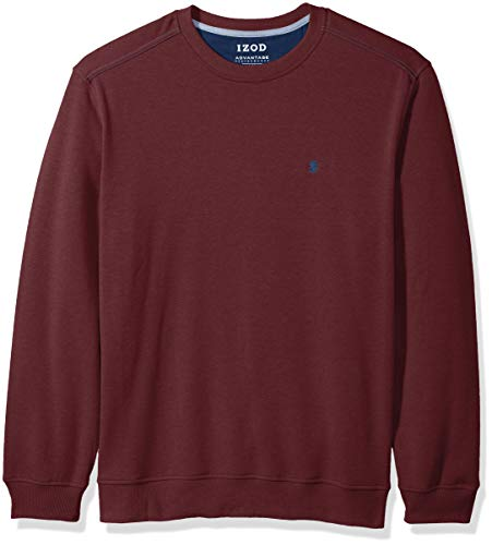 New Sweater Crewneck Mens - IZOD Men's Advantage Performance Long Sleeve Solid Fleece Soft Crewneck Pullover, New fig Medium