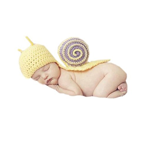 Cx-queen Newborn Baby Crochet Yellow Snail Beanie Cape Set Photo Photography Prop