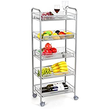 Homfa 5 Tier Mesh Wire Rolling Cart Multifunction Utility Cart Kitchen  Storage Cart On Wheels